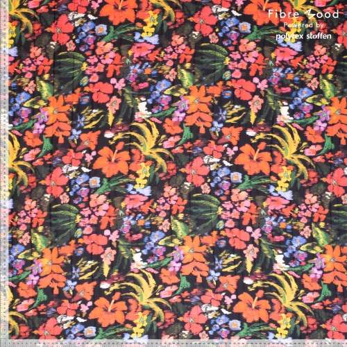 "Fibre Mood Crepe Plissee ""Flower Power ​- Bloom​/​Fiona (schwarz​-​bunt)"