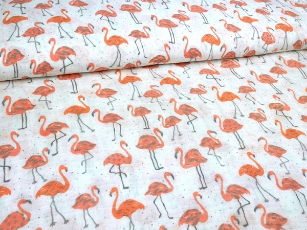 Musselin Stoff Flamingo Double Gauze